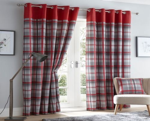 RED GREY SLATE LINED RING TOP EYELET STYLISH TARTAN CHECK LUXURY MODERN CURTAINS